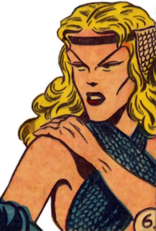 Namora (Golden Age Marvel Timely Comics) face closeup sharp features