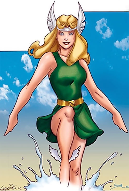 Namora (Golden Age Marvel Timely Comics) modern art in a green dress
