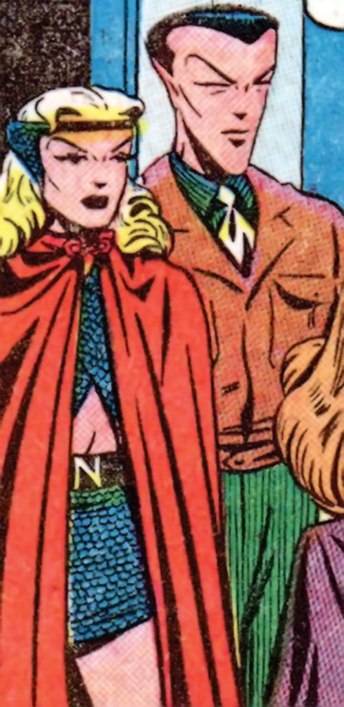 Namora (Golden Age Marvel Timely Comics) with a red cape and Namor