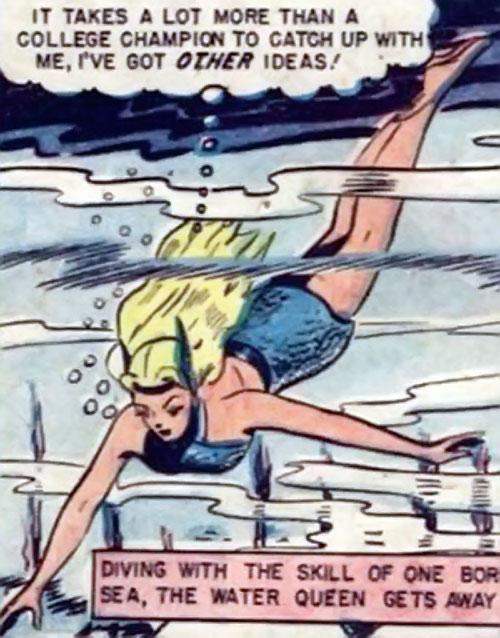 Namora (Golden Age Marvel Timely Comics) diving downward