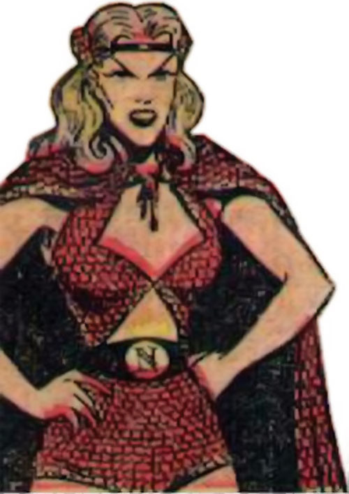 Namora (Golden Age Marvel Timely Comics) in red with a cape