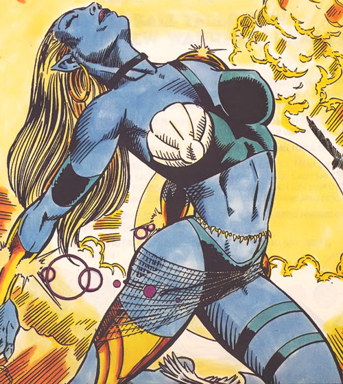 Marvel's Kymaera (formerly Namorita) of the New Warriors, with blue skin mutation