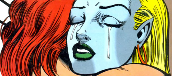 Namorita (Marvel Comics) as Kymaera hugging Nova, crying reunion