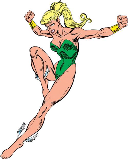 Namorita of the New Warriors (Classic era) (Marvel Comics) in mid-air