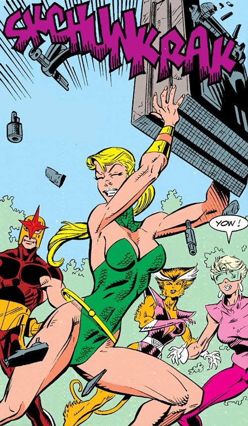 Namorita of the New Warriors (Classic era) (Marvel Comics) demonstrates her strength