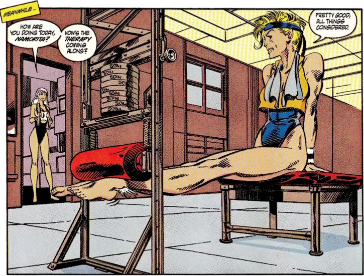 Namorita of the New Warriors (Classic era) (Marvel Comics) exercising
