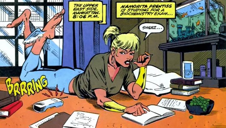 Namorita of the New Warriors (Classic era) (Marvel Comics) studying on the floor