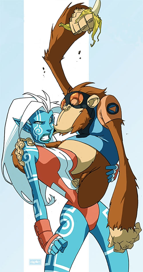 Namorita (Marvel Comics) blue skin vs. Peotor the super-ape