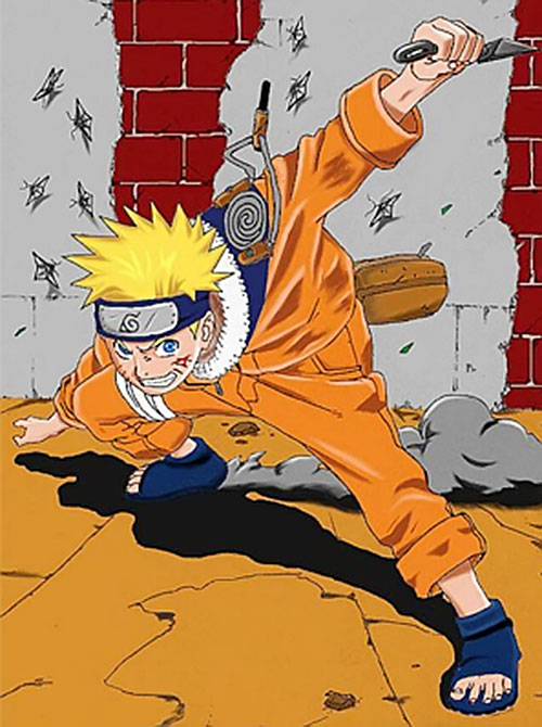 Early Naruto dodging shuriken