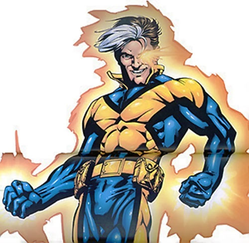 X-Man (Nate Grey) (Marvel Comics) glowing with energy in a blue and gold costume