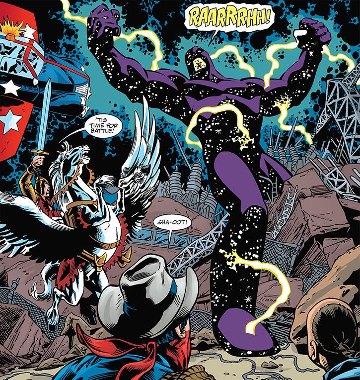 Nebula-Man vs 7 Soldiers (DC Comics) flashback in Star-Spangled Kid