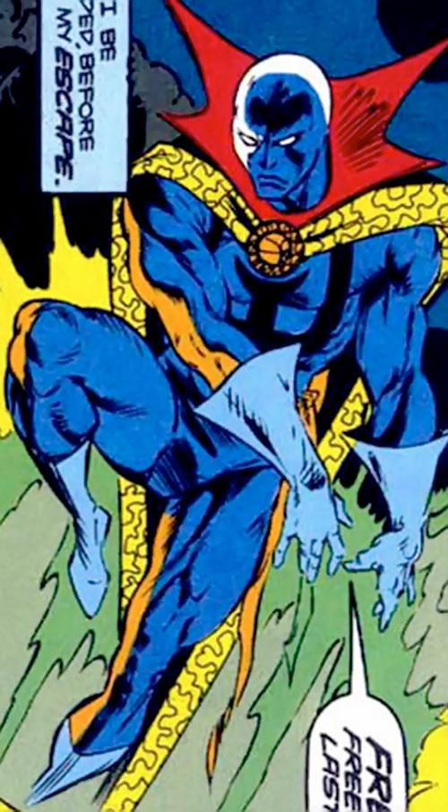 Necromancer (Doctor Strange evil double) (Marvel Comics) flying with green fire