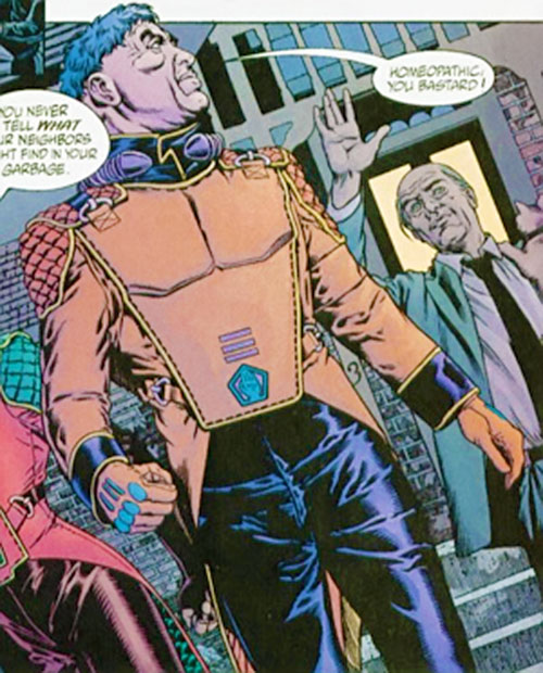 Ned Slade (Grant Morrison's The Filth) with blue hair and an orange Hand vest