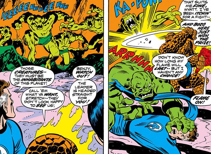 Negative Zone (Marvel Comics) - green aliens wearing slips