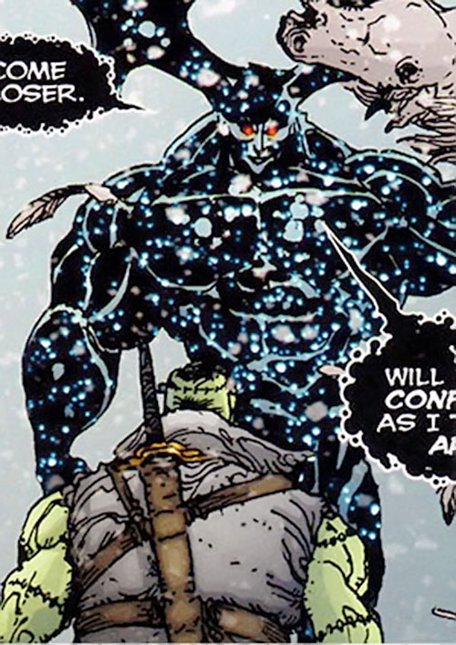 Neh-Buh-Loh (aka the Nebula Man, aka Qwewq) (7 Soldiers) (DC Comics) facing Frankenstein