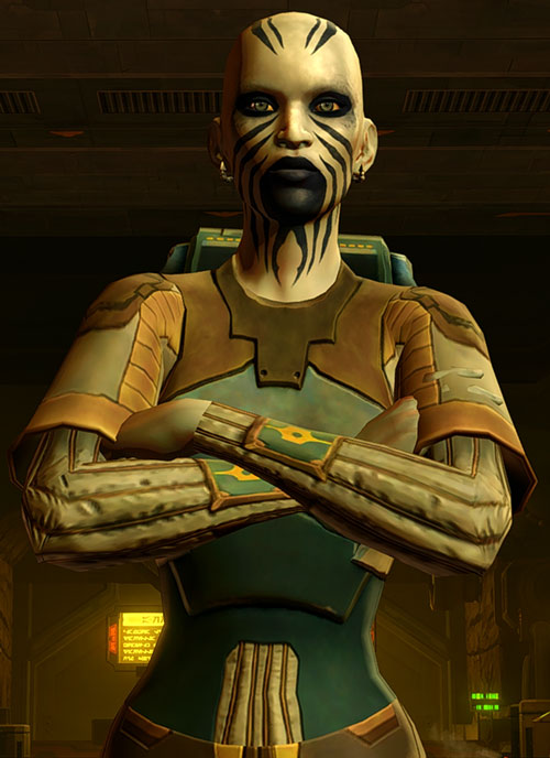 SWTOR - Star Wars the Old Republic - Rattataki female bounty hunter - Arms crossed