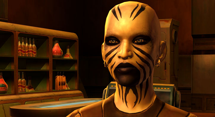 SWTOR - Star Wars the Old Republic - Rattataki female bounty hunter - Sneering