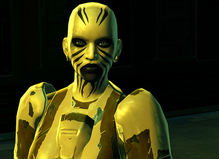 SWTOR - Star Wars the Old Republic - Rattataki female bounty hunter - Death stare