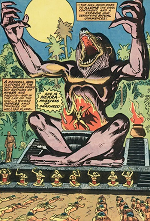 Nekra (Marvel Comics) and a giant mandrill statue