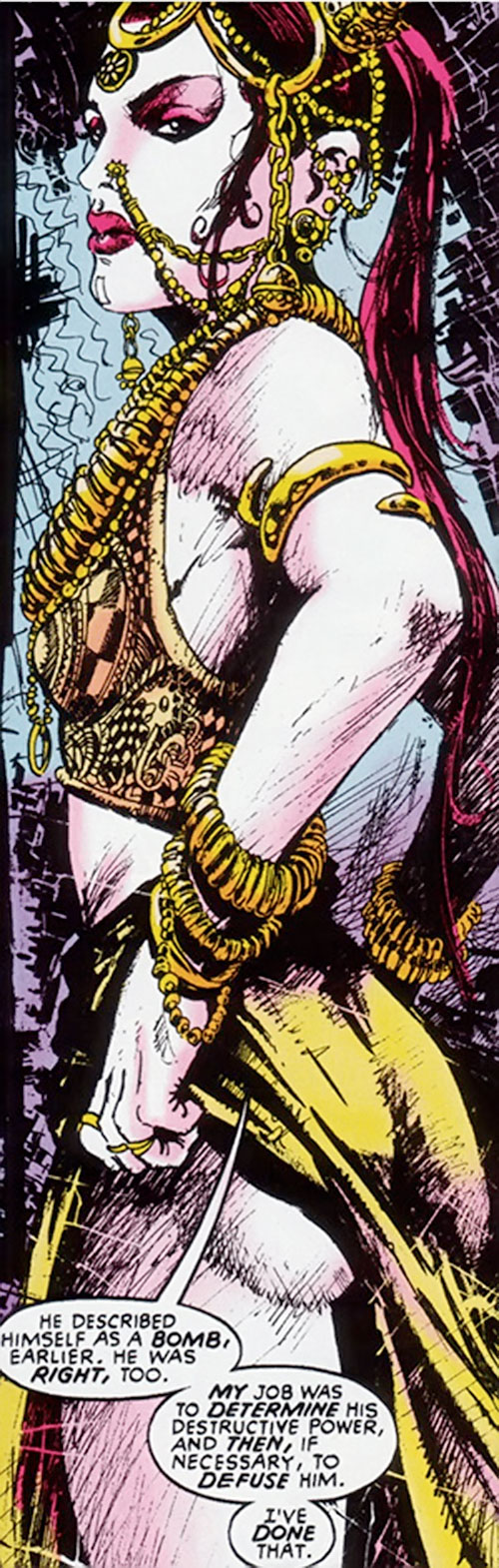 Nekra (Marvel Comics) with Indian-style jewellery putting her panties back