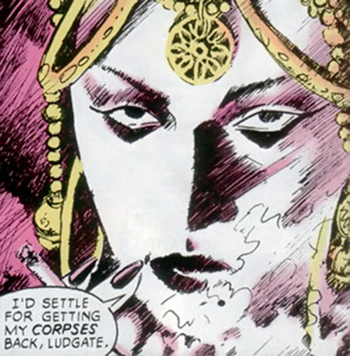 Nekra (Marvel Comics) with Indian-style jewellery smoking