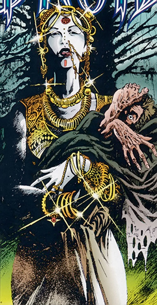 Nekra (Marvel Comics) with Indian-style jewellery holding a corpse
