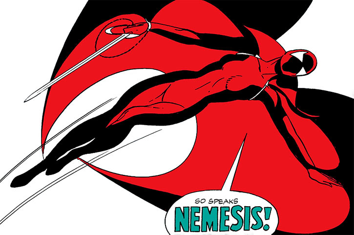 Nemesis (Ms. St Ives) flying with her sword