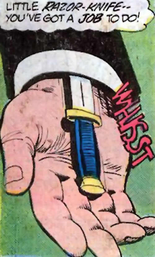 Nemesis (Tresser) (Pre-Crisis DC Comics Brave Bold) ejecting his small knife into his palm