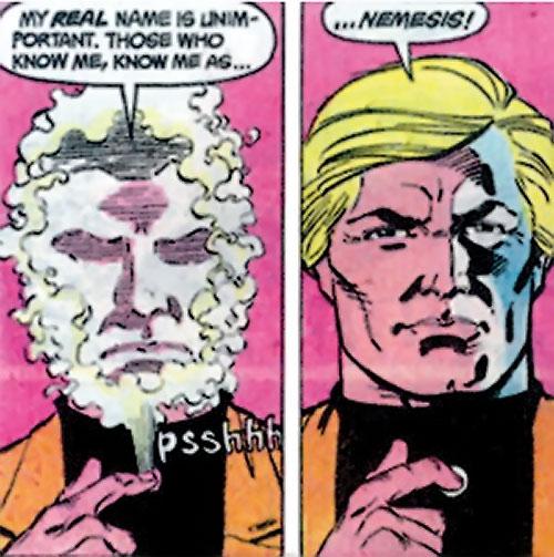 Nemesis (Tresser) (Pre-Crisis DC Comics Brave Bold) shedding a mask