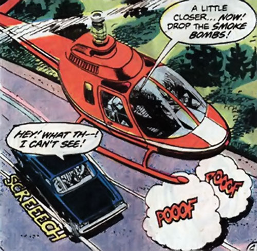 Nemesis (Tresser) (Pre-Crisis DC Comics Brave Bold) dropping smoke bombs from a helicopter