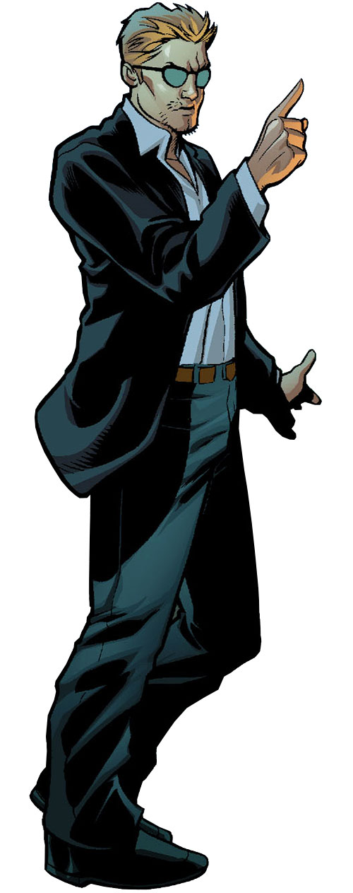 Nemesis (Wonder Woman ally) (DC Comics) in a black suit and sunglasses