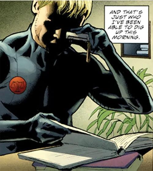 Nemesis (Wonder Woman ally) (DC Comics) photographing a ledger