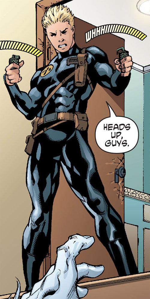 Nemesis (Wonder Woman ally) (DC Comics) readying 2 grenades
