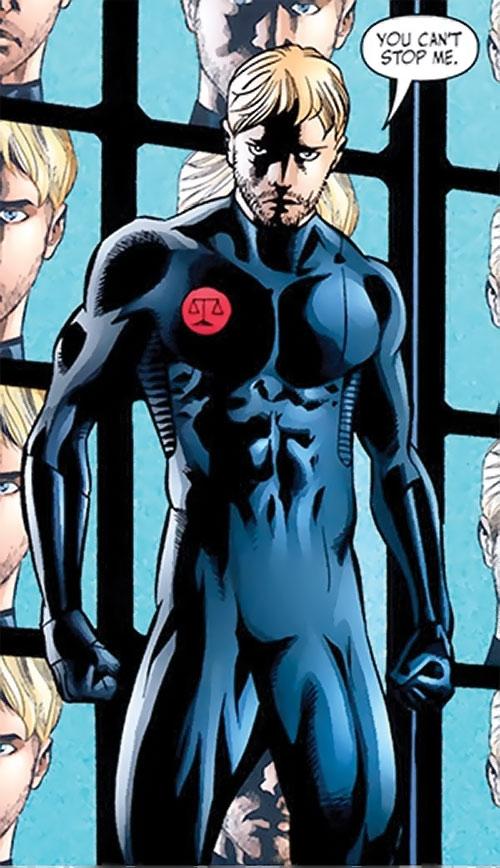 Nemesis (Wonder Woman ally) (DC Comics) in a tight black jumpsuit