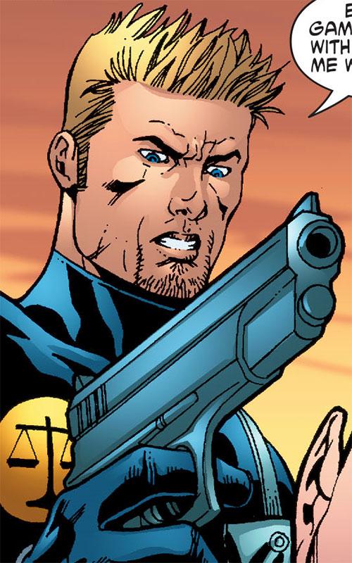 Nemesis (Wonder Woman ally) (DC Comics) with a big pistol