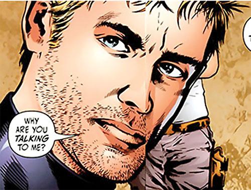 Nemesis (Wonder Woman ally) (DC Comics) ill-shaven face closeup