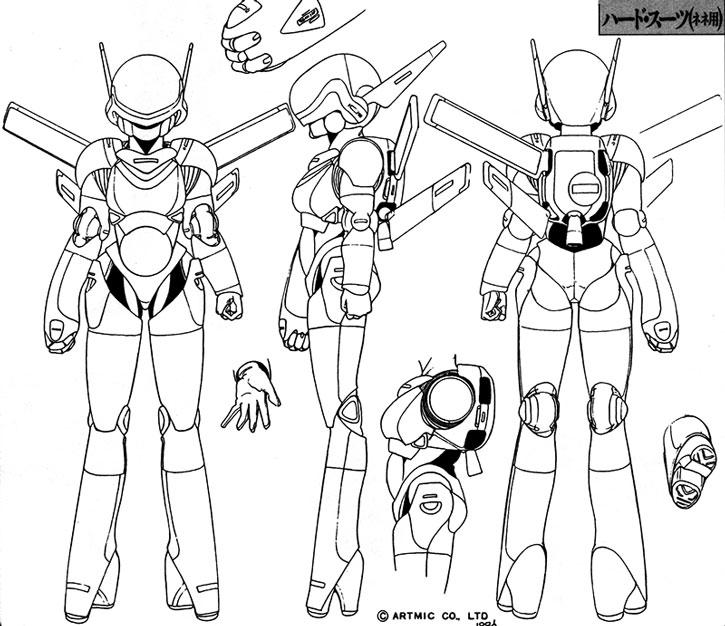 Nene's hardsuit design model sheet
