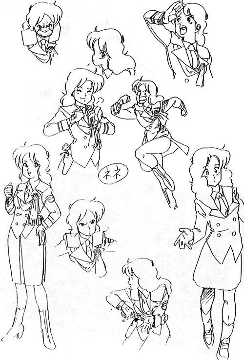 Nene of the Knights Sabre (Bubblegum Crisis) character poses sheet
