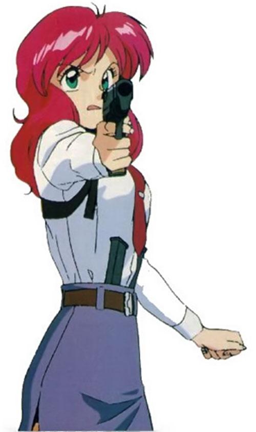 Nene of the Knights Sabre (Bubblegum Crisis) aiming a pistol