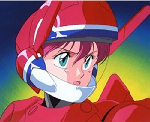 Nene of the Knights Sabre (Bubblegum Crisis) with her hardsuit helmet open