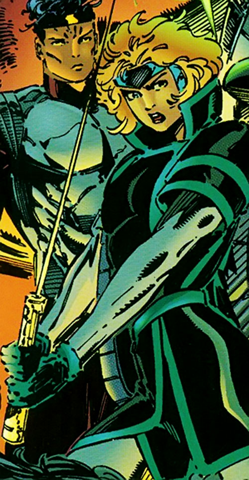 Network of the Sovereign 7 (DC Comics) with her weapon