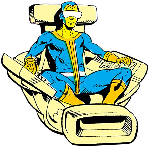 Neutrax of the League of Super-Assassins (DC Comics) in his floating chair