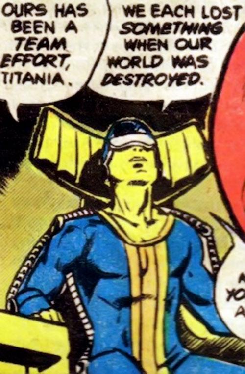 Neutrax of the League of Super-Assassins (DC Comics) looking up