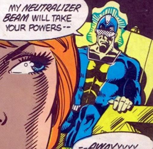 Neutrax of the League of Super-Assassins (DC Comics) threatening