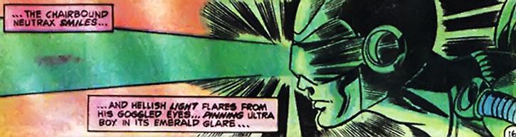 Neutrax firing his eyes beam