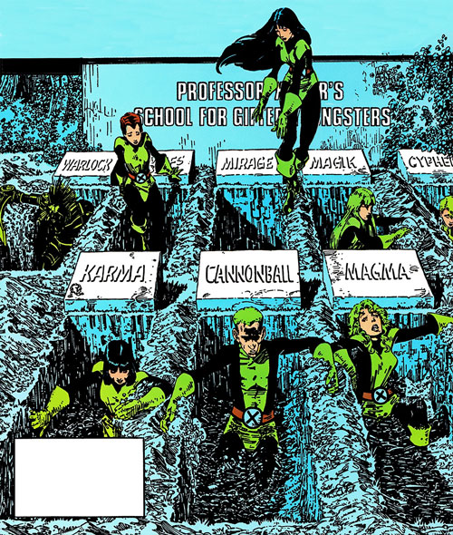 New Mutants (Marvel Comics) classic era - the team and their graves