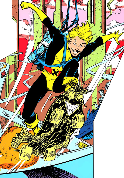 New Mutants (Marvel Comics) classic era - Cypher skateboarding with Warlock