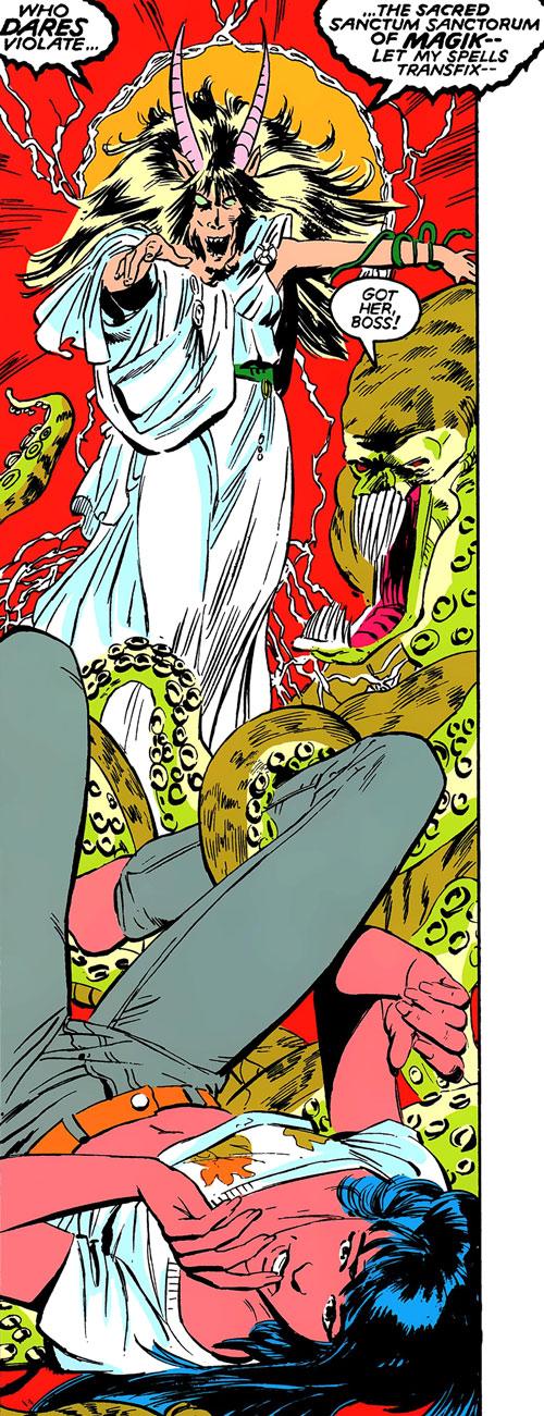 New Mutants (Marvel Comics) classic era - demonic Magik attacks Mirage
