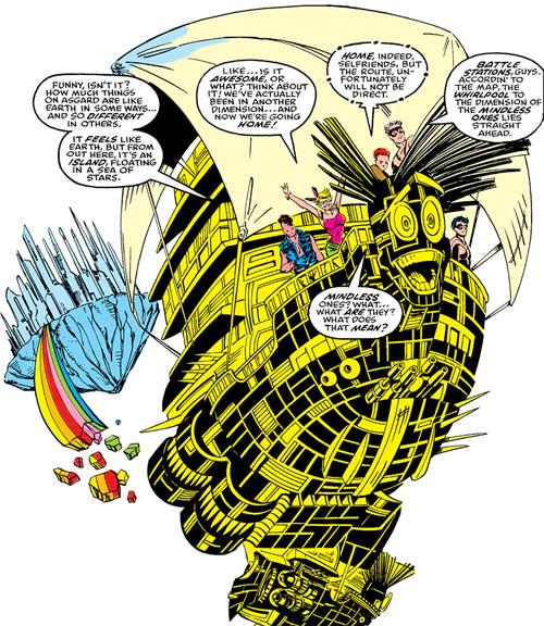 New Mutants (Marvel Comics) classic era - sailing away from Asgard