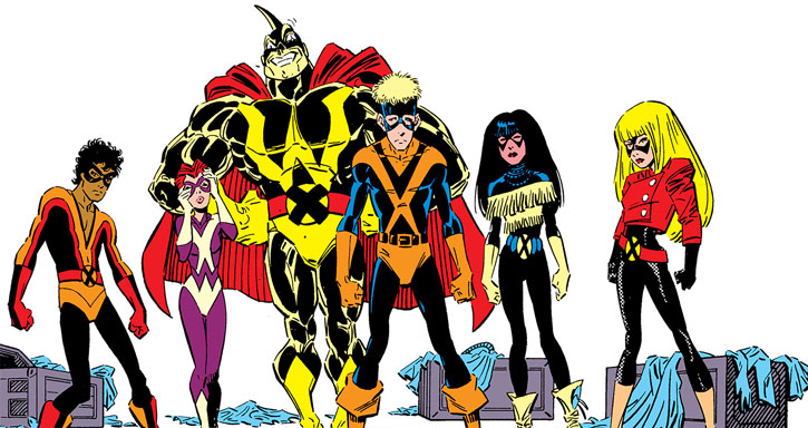 New Mutants (Marvel Comics) classic era - revised individual costumes